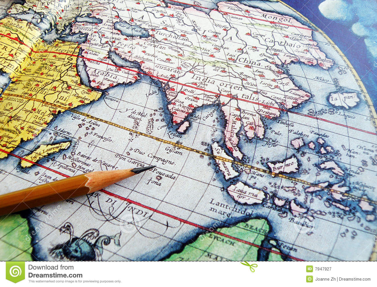 http://www.dreamstime.com/royalty-free-stock-photography-antique-world-globe-pencil-image7947927